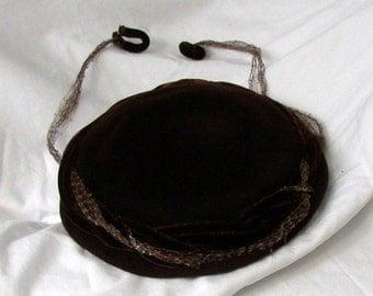 Adorable VINTAGE VELVET HAT, French Roast, mid century, designer, antique fabric, netting, clips