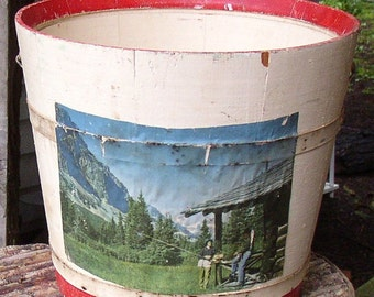 Best Vintage WOODEN BUCKET, PAIL,   paint, patina, picture....too cute