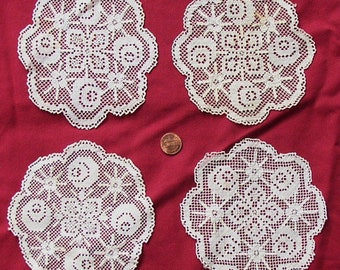 """Vintage Crochet LACE DOILIES, COASTERS,  set of 4, delicate, 5"""", assembledge, mixed media, decor"""