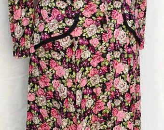 Vintage FLORAL MAXI DRESS, 1980 s, rayon, padded shoulders, fitted, Moon Dance, gorgeous