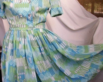 VINTAGE DRESS, FROCK, 1960's, blues, greens, rayon crepe, full skirt, great style