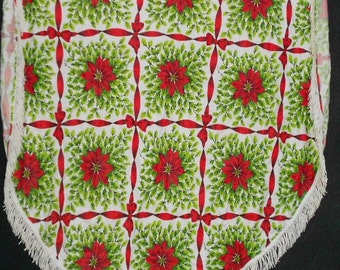 Vintage HOLIDAY TABLECLOTH, POINSETTIAS, holly, ribbons, Fringe, Bright Colors, round, fabric