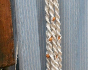 Vintage MACRAME PLANT HANGER,hand made, wood beads,  Large, Retro, very cool