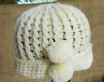 Sweet VINTAGE KNIT HAT, Winter White, pom-poms, hand made, wooly warmth