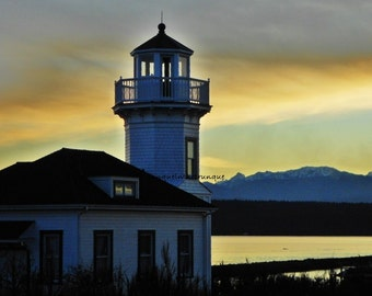 Take 30% Off  LIGHTHOUSE TWILIGHT PRINT, 8 x 10, N W sunset photo, Olympic Mts, Golden reflections