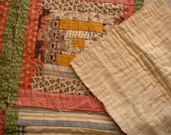 Antique QUILT BLOCK, VINTAGE Log Cabin hand sewn, mid 1800 s, cheddar, paisley, browns, blues, ooak