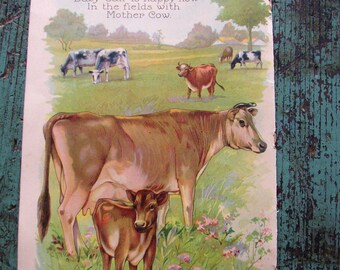 1927 BABY ANIMALS BOOK PAPER PAGE..VINTAGE ..ADORABLE
