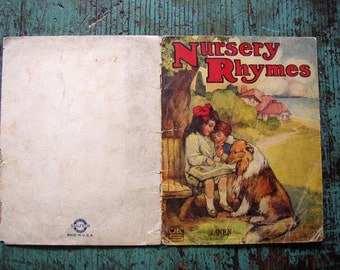 VINTAGE CHILDS BOOK PAGE.. NURSERY RHYMES..1913 CHARMING