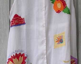 BEACH COVER-UP , Dress, colorful embroidery, applique, 1980 S, swimwear, vintage
