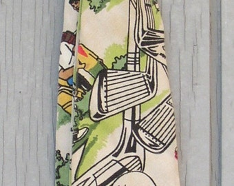 VINTAGE GOLFER NECKTIE..FUN.. 1960'S..COLORFUL..GREAT FOR FATHERS DAY