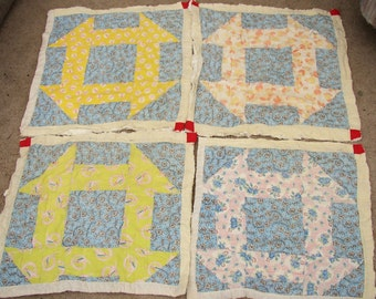 FUN AND FUNKY QUILT BLOCKS .1940-1950'S. GREAT FABRICS