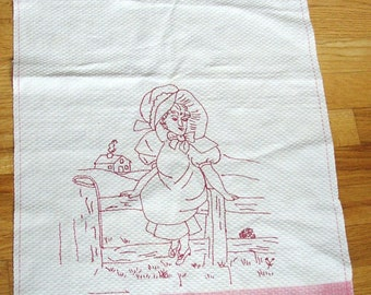Sweet Vintage REDWORK EMBROIDERED TOWEL..Girl with bonnet...Fringe...Mid 1900 s