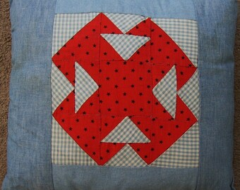 VINATGE QUILT,  FABRIC PILLOW..TURKEY RED...DOUBLE T PATTERN...BLUE, WHITE CHECK.. CLASSIC.