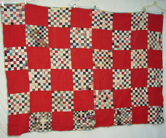 Vintage POSTAGE STAMP QUILT, Turkey Red, C 1900, Gorgeous Fabrics, Hand Sewn, Classic, ooak