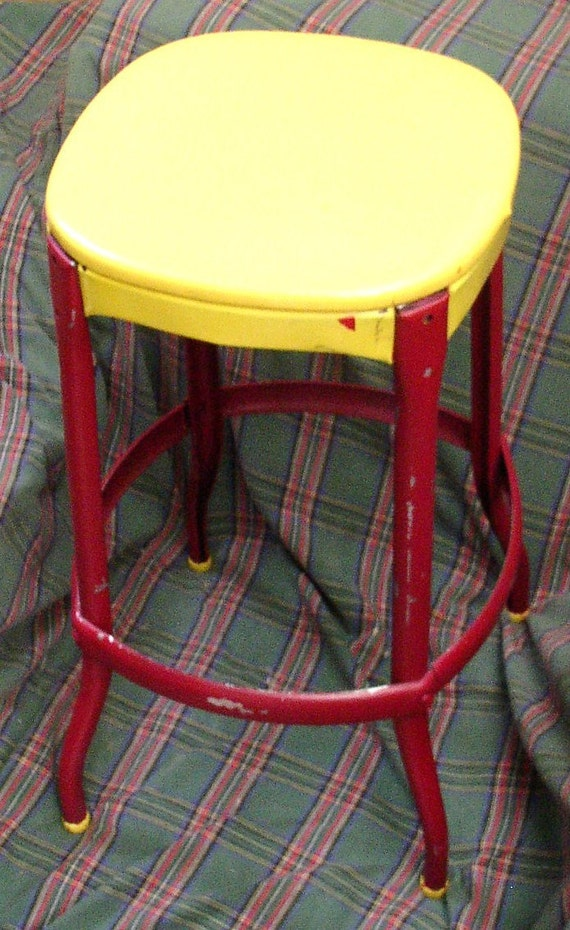 res4kathy Vintage METAL STOOL, CHAIR, Yellow & Maroon, vinyl, Industrial, retro decor, Cosco