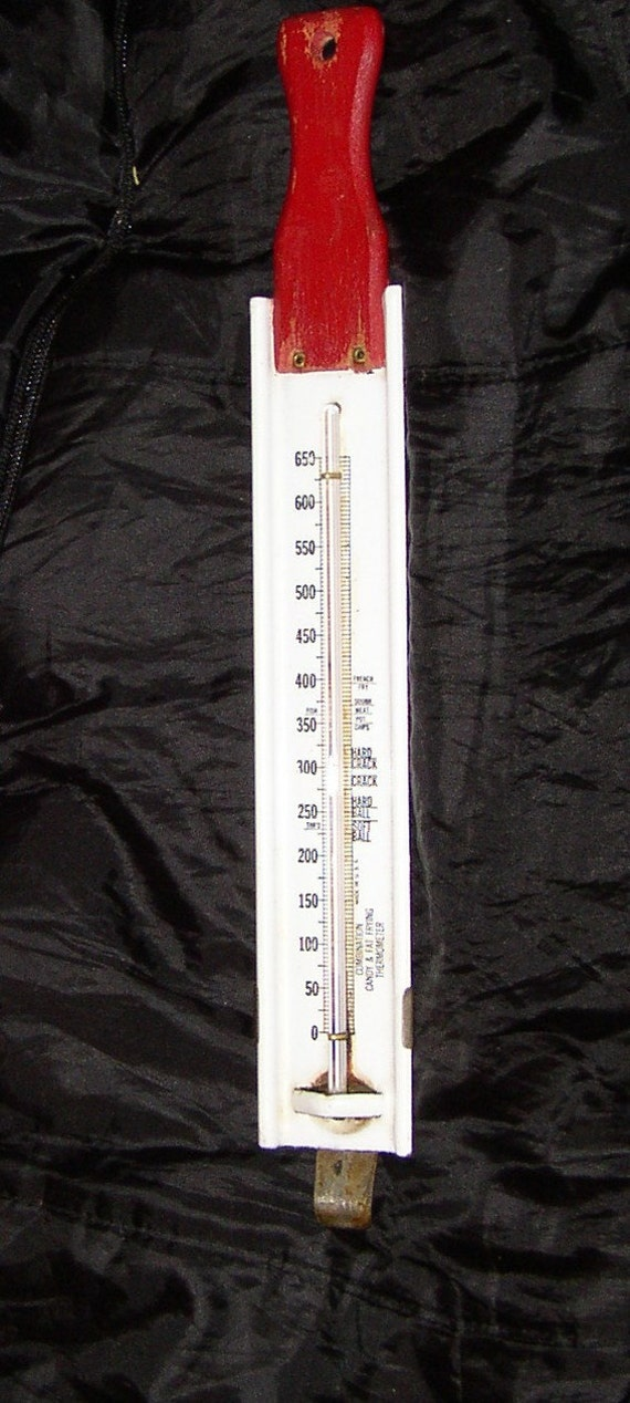 Vintage CANDY THERMOMETER, fat frying, enamel, metal, wood, very cute