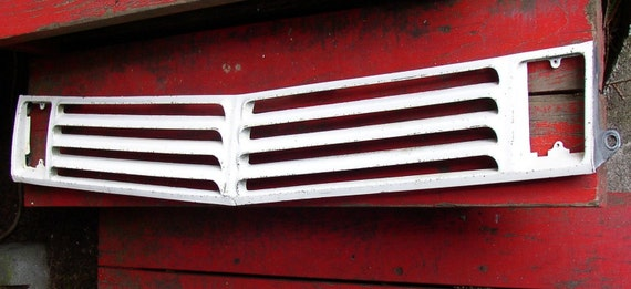 Vintage CAR GRILL, INDUSTRIAL, Retro Cool, white, metal, altered art project, Fun Display, auto part