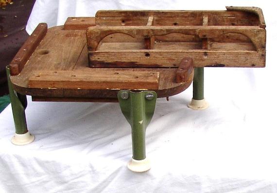 Funky OOAK TABLE CADDY, organizer, tray, Vintage wood, metal legs, primitive, rustic side table