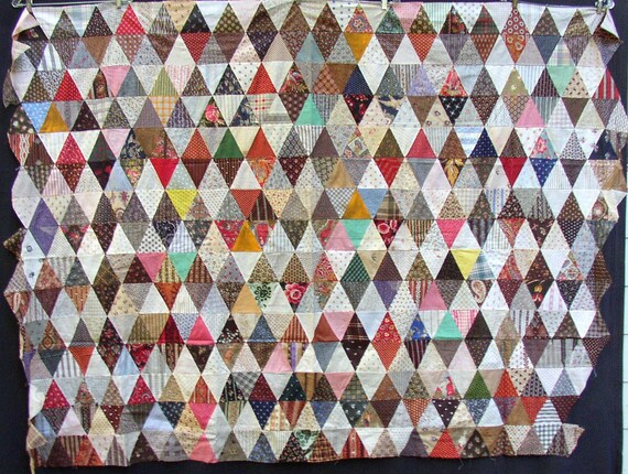20 percent off original price...now 135.00...PYRAMIDS QUILT TOP, gorgeous early fabrics, calicos, paisleys, lil riding hood, wolf, cherubs