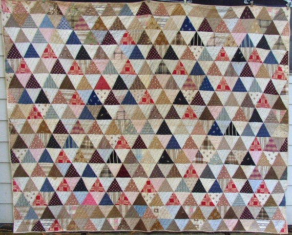 ANTIQUE PYRAMIDS QUILT, c 1900, reds, blues, browns, calicos,hand sewn, graphic, ooak, cozy collectible