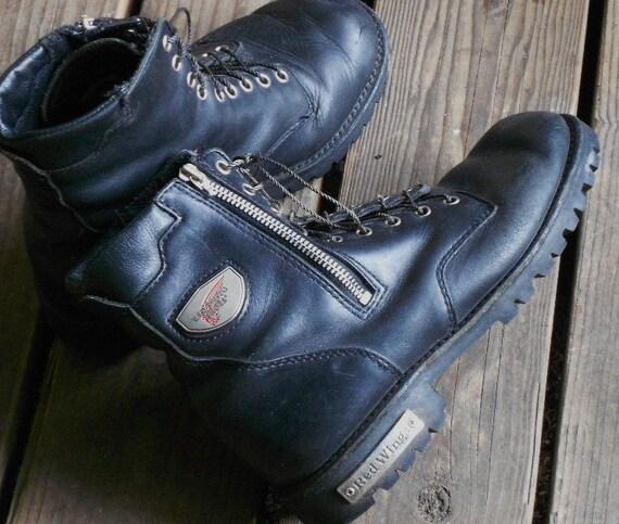VINTAGE REDWING BOOTS, laces, zippers, biker, hiker, black leather