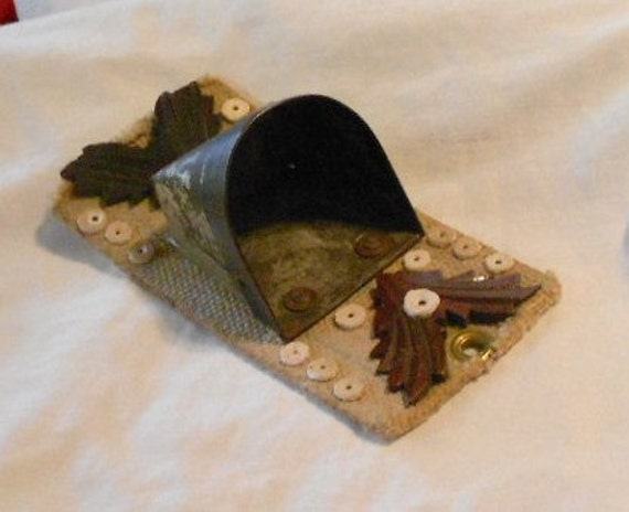 FOLKART MATCH HOLDER, Vintage hand made, C 1930, unique ooak catchall, decor, art, mixed media