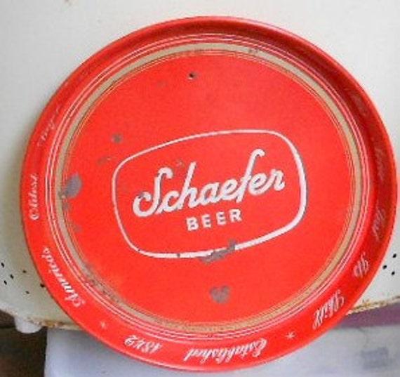 RED BEER TRAY, Vintage Schaefer Beer, metal, Americas oldest lager beer, brewing, N Y