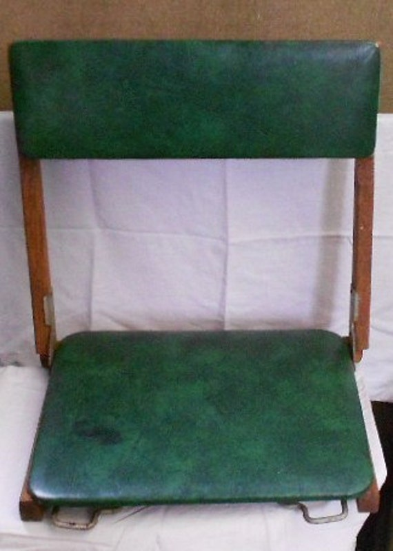 CAMP, BOAT SEAT, vintage folding chair, retro green vinyl, wood, metal clamps, athletic accessory