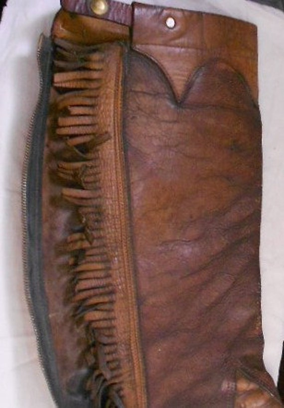 res for scott.LEATHER GAITER STIRRUP, leg chap, fringe, zipper, vintage riding wear....one is not always a lonely number