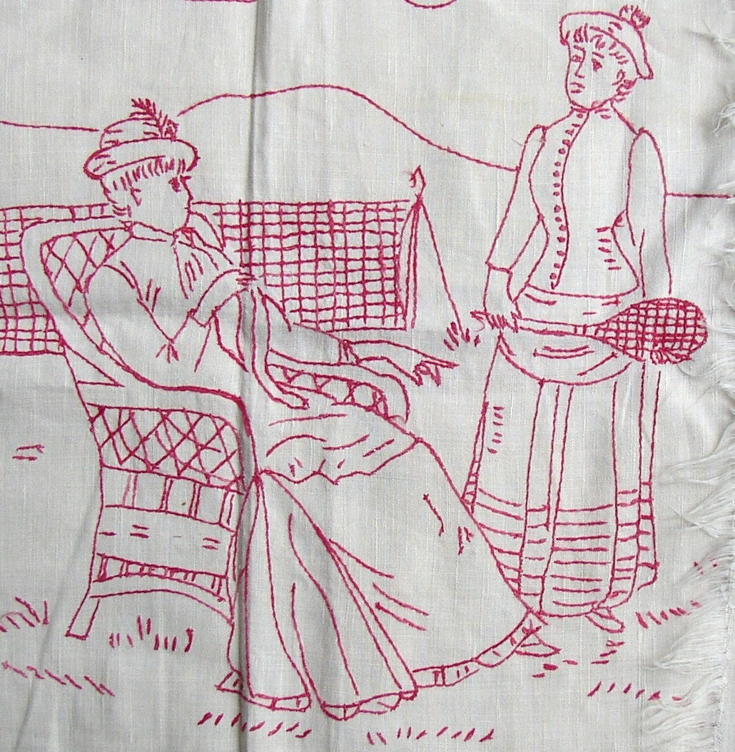 Awesome vintage redwork embroidery linen towel sporting