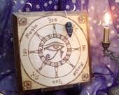 Pryograph Wood Dowsing Board Eye of Horus with Obsidian Pendulum