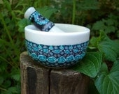 Millefiori Fit in the Palm of Your Hand Mortar and Pestle in Teal, Black and Silver