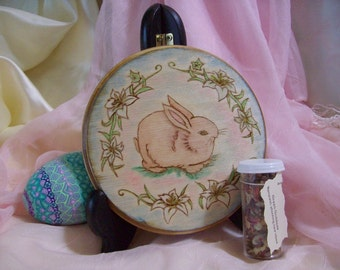 Made to order Bunny and Lily Ostara Spring Equinox Altar Tile/Home Decor
