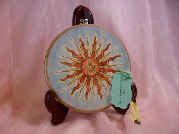 Made to order Pentacle Sun Litha Summer Solstice Altar Tile/Home Decor