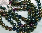 Vintage Czech 6mm Vitrail Round Glass Carnival Beads (25)