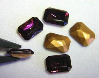 Vintage Czech Amethyst 10x8mm Octagon Glass Jewels (6)