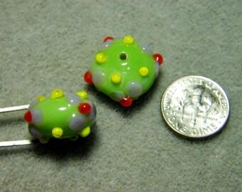 Vintage Handmade Large Bumpy Rondelle Lampwork Rondelle Beads (2)