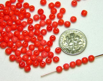 Vintage Czech Opaque Coral 4mm Round Glass Beads (25)