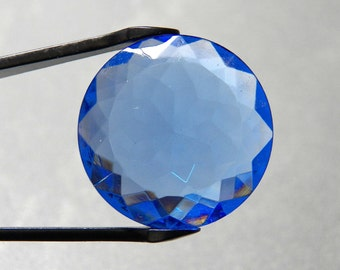 Large Vintage Light Sapphire 25mm Table Top Round Glass Jewel (1)