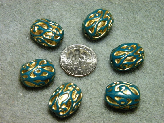 Vintage Teal with Gold Swirls Lucite Barrel Beads (6)