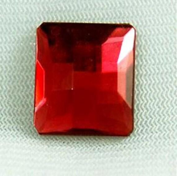 Vintage Swarovski Ruby Checkerboard Crystal  20x20mm Flat Back Square Cabochons (1)
