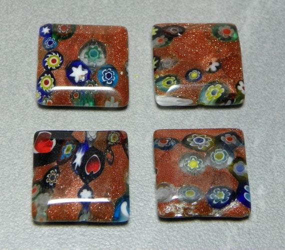 Vintage Goldstone Millefiori 18mm Square Glass Beads (4)