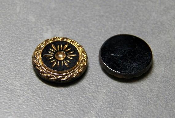 Vintage German Gold on Black 13mm Flat Round Etched Glass Flat Back Tile (2)