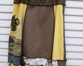 Upcycled Patchwork Skirt - Large - Boho Eco Mori Girl