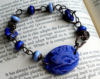 Blue Poppies - Polymer Clay, Lampwork and Wirework Bracelet