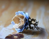 Marie Antoinette - Cream and Vintage Blue paper Blossom Ring - Unique - One of a Kind - Gifts under 20