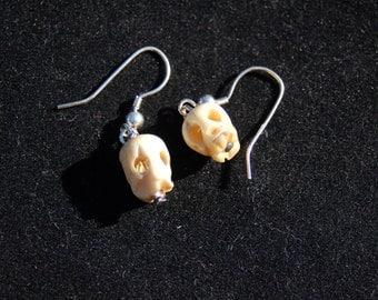 Tibetan skull prayer bead earring