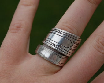 art deco spoon ring silver plated