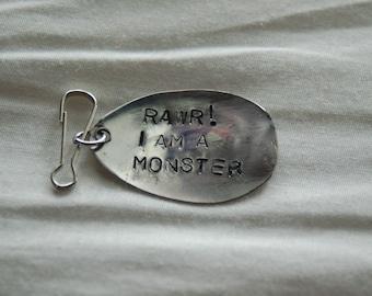 RAWR i am a monster zipper pull