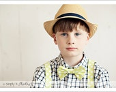 Perfect for Holiday photos - Weddings  -  Custom made Boys Bow Tie and Suspender Set - FREE SHIPPING